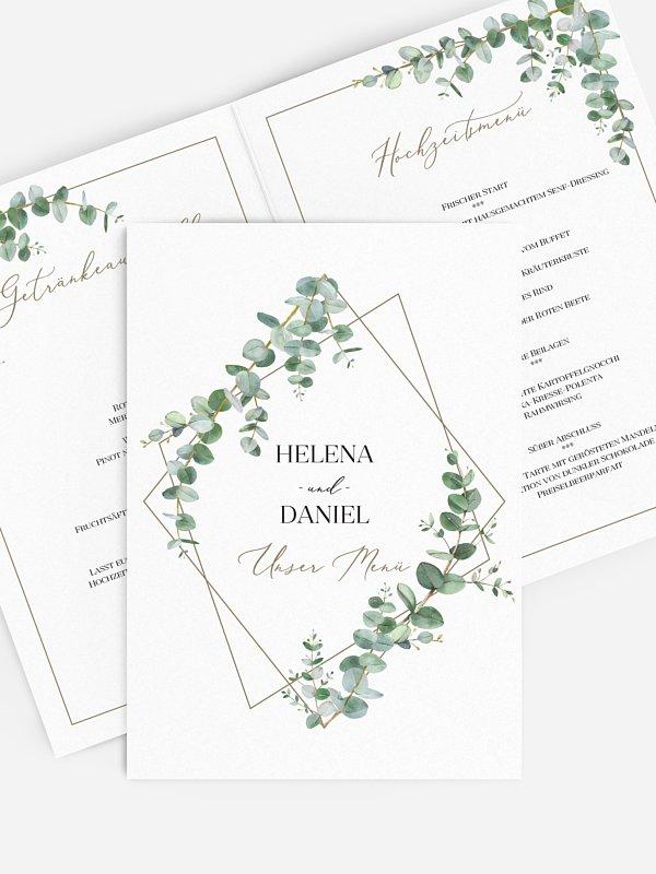 Menükarte Hochzeit Natural Greenery