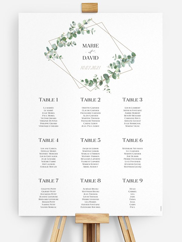 Poster plan de table mariage Natural Greenery