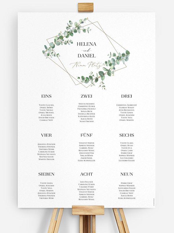 Sitzplan Plakat Natural Greenery