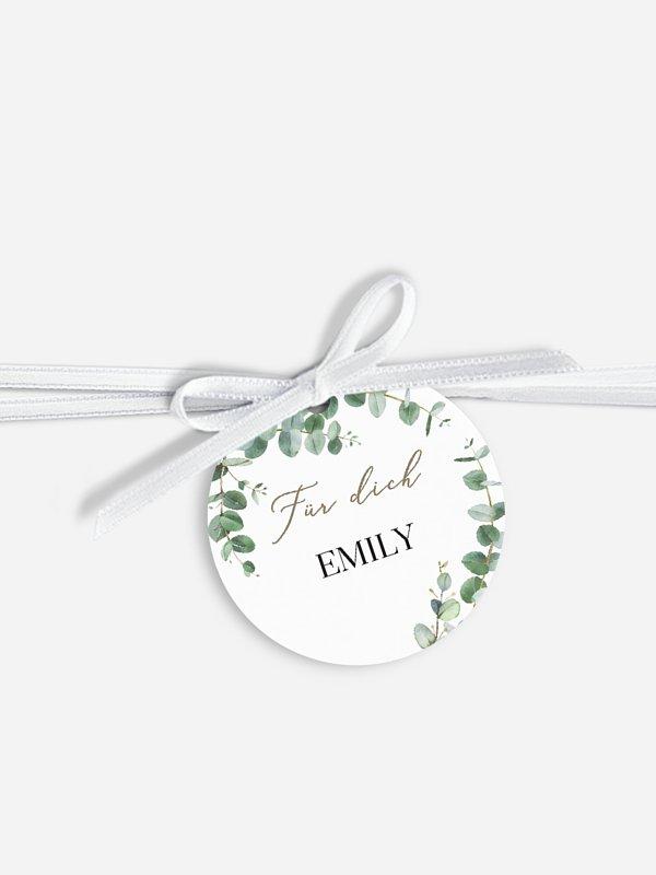 Anhänger mit Band zur Hochzeit personalisiert Natural Greenery