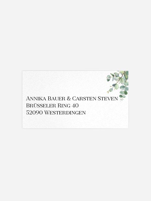 Empfängeraufkleber Hochzeit Natural Greenery