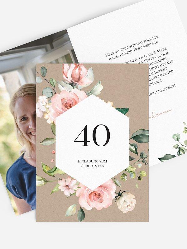 Einladung 40. Geburtstag Soft Florals