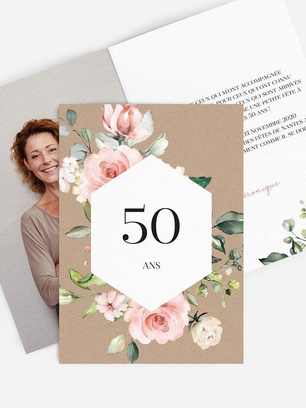 invitation anniversaire 50 Soft Florals