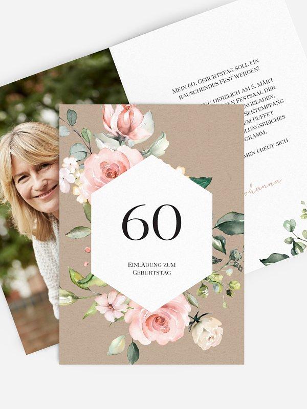 Einladung 60. Geburtstag Soft Florals