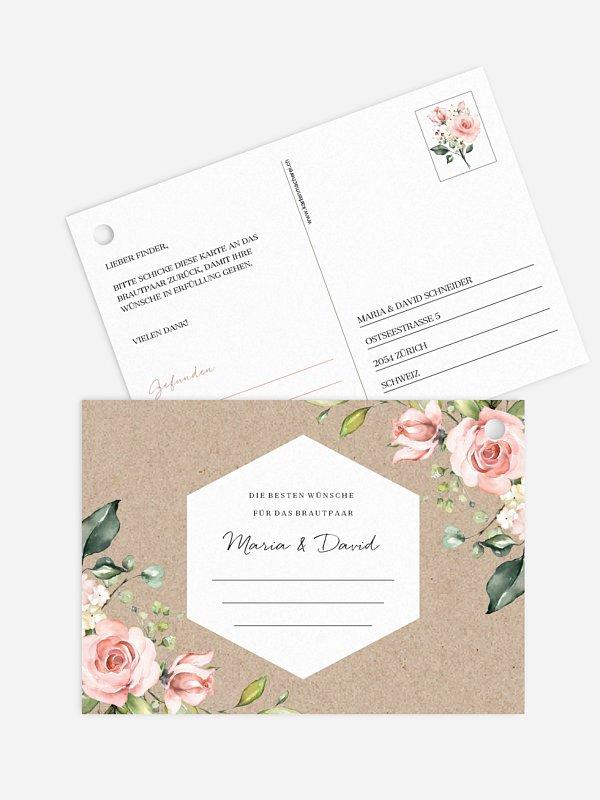 Ballonkarte Hochzeit Soft Florals