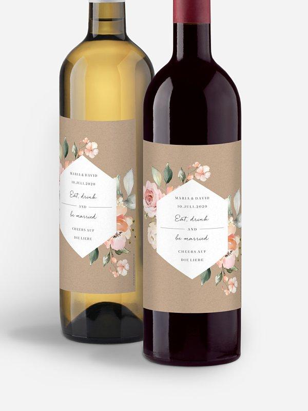 Flaschenetikett Hochzeit Soft Florals