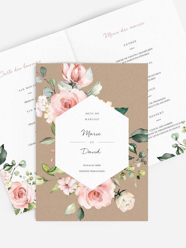 Menu mariage Soft Florals