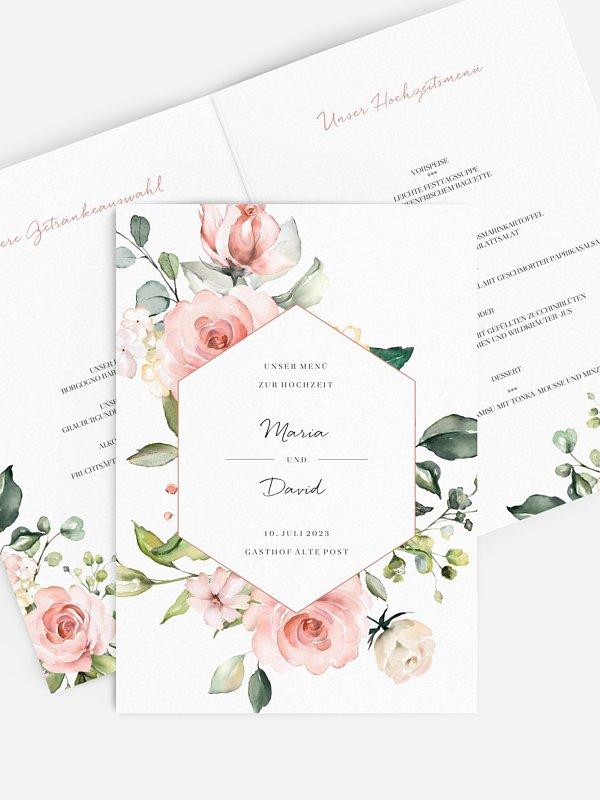 Menükarte Hochzeit Soft Florals