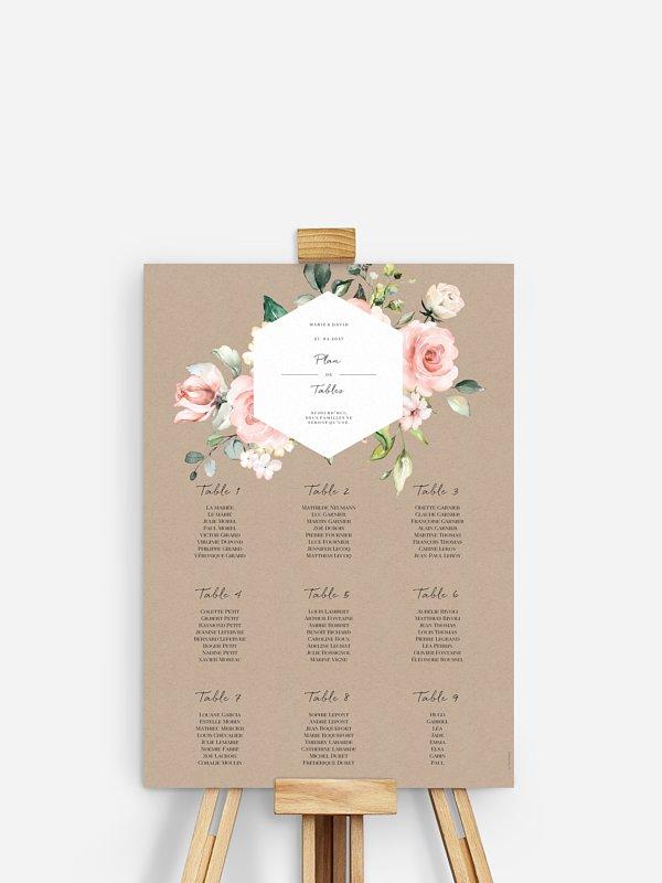 Poster plan de table mariage Soft Florals