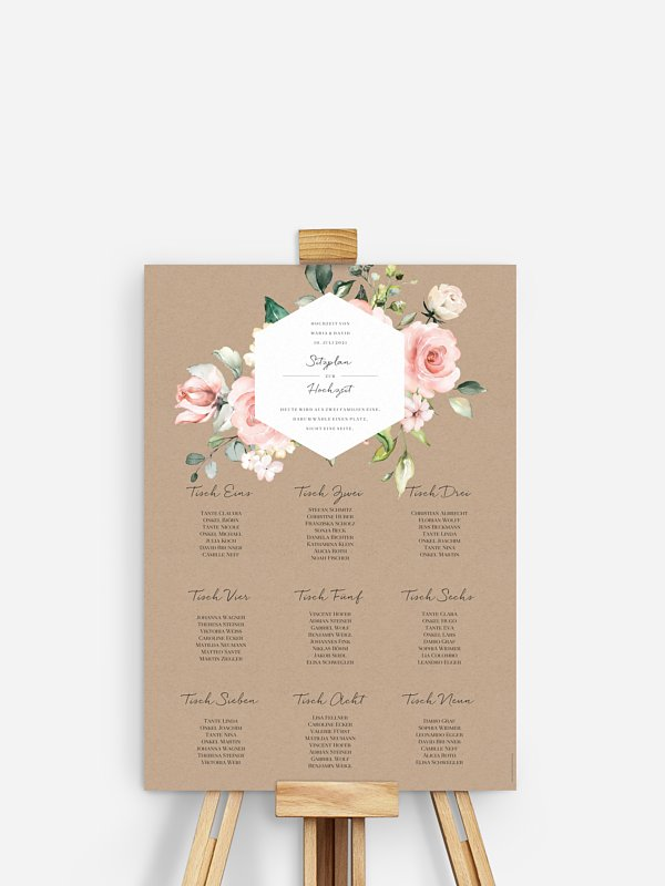 Sitzplan Plakat Soft Florals