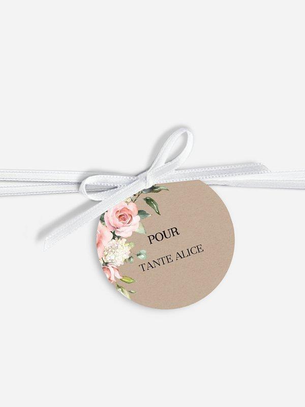 Étiquette avec ruban mariage individuelle Soft Florals