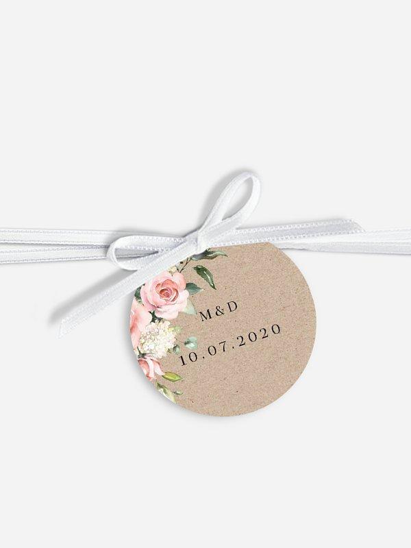Étiquette avec ruban Soft Florals
