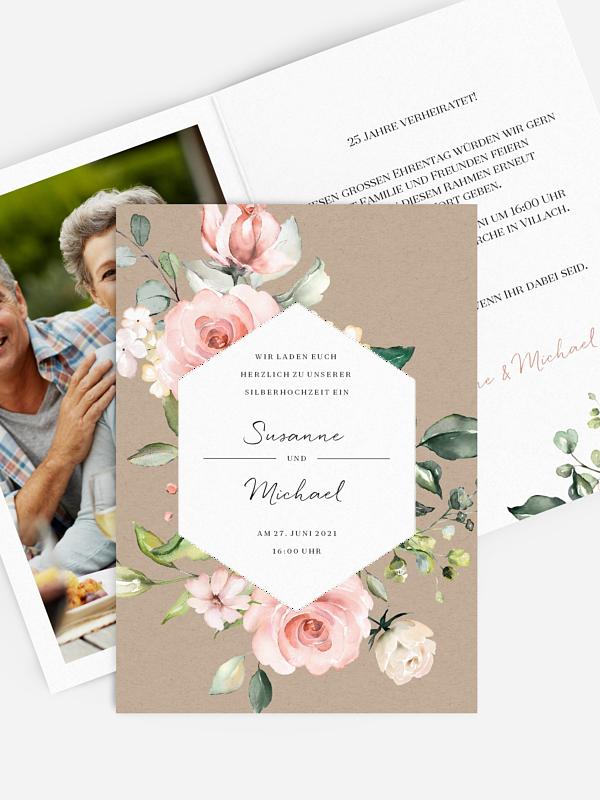 Einladung zur Silberhochzeit Soft Florals