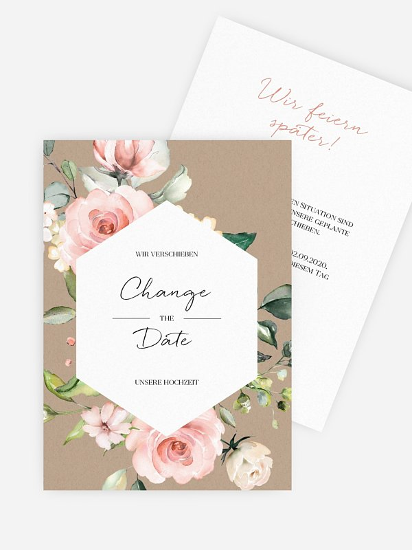 Change-the-Date Karte Soft Florals