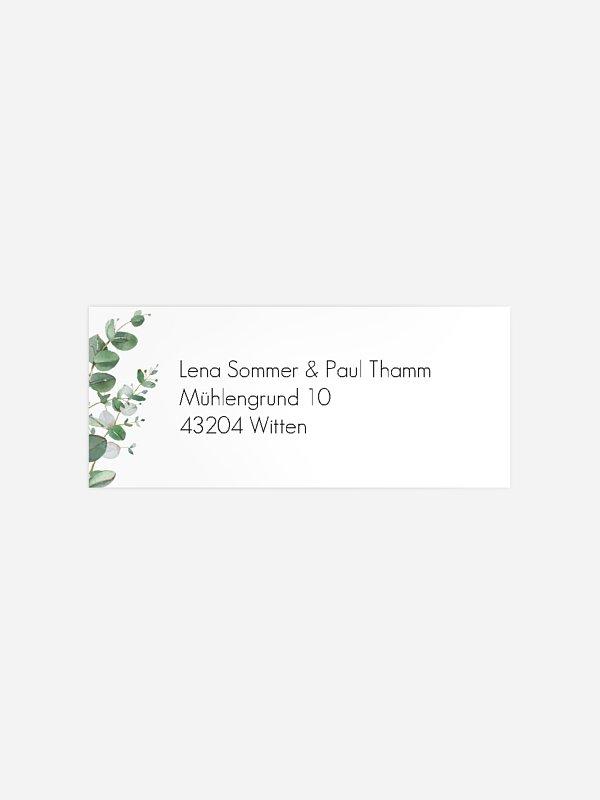 Absenderaufkleber Hochzeit Green Minimal
