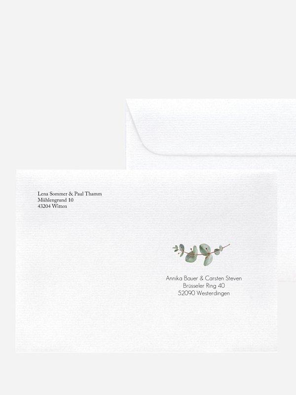 Bedruckter Briefumschlag Hochzeit Green Minimal