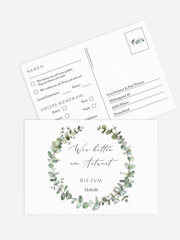 Antwortkarte Hochzeit Green Minimal