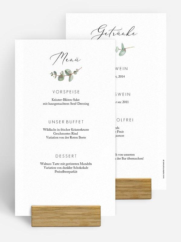 Menükarte Hochzeit Green Minimal