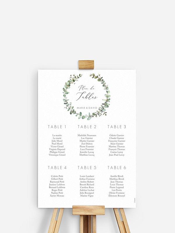 Poster plan de table mariage Green Minimal