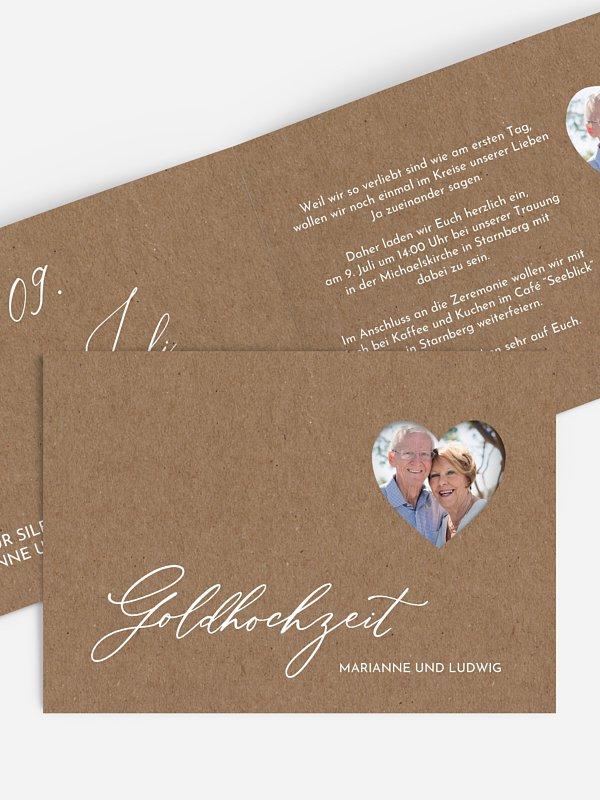 Einladung zur Goldenen Hochzeit First Love (gestanzt)