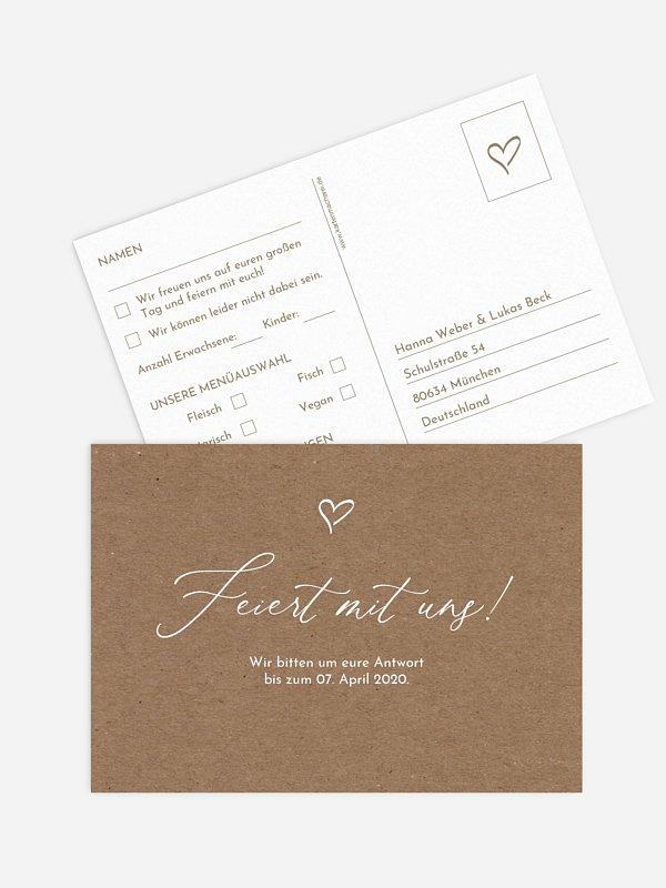 Antwortkarte Hochzeit First Love