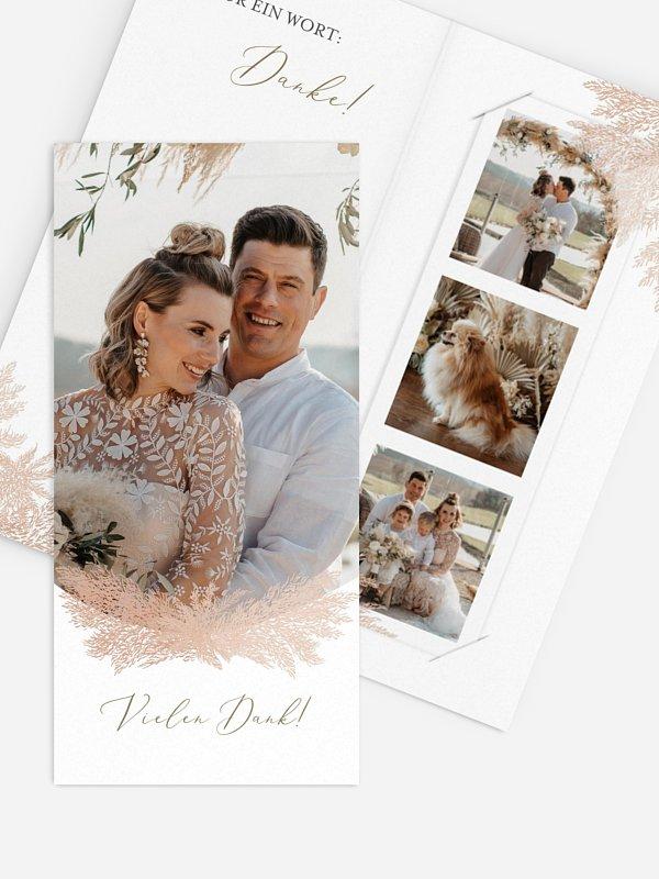 Dankeskarte Hochzeit Blush Pampas