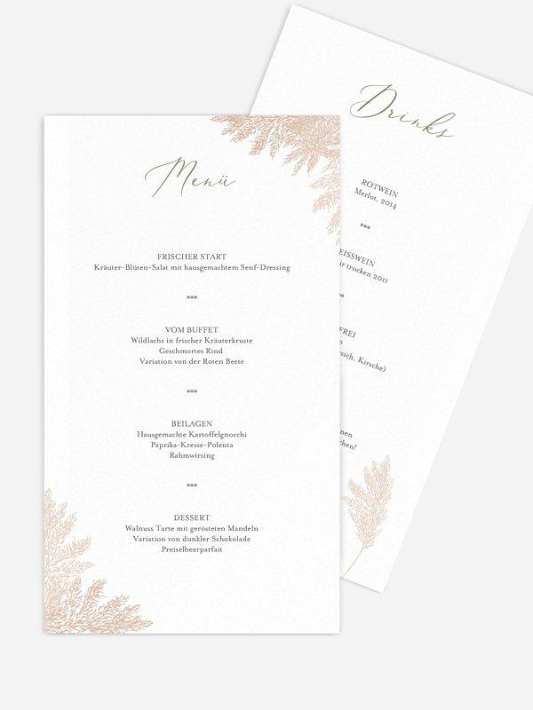 Menükarte Hochzeit Blush Pampas