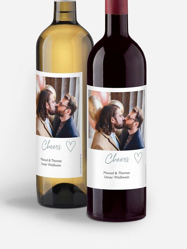 Flaschenetikett Hochzeit Polaroid