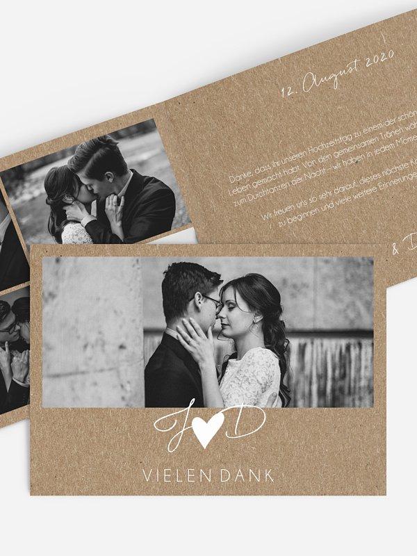 Dankeskarte Hochzeit Liebesglück Kraftpapier