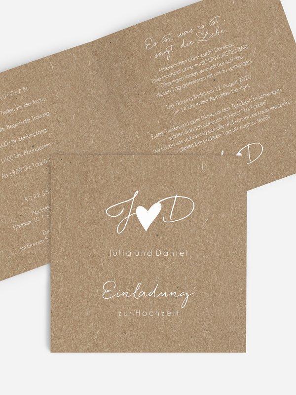 Hochzeitseinladung Liebesglück Kraftpapier