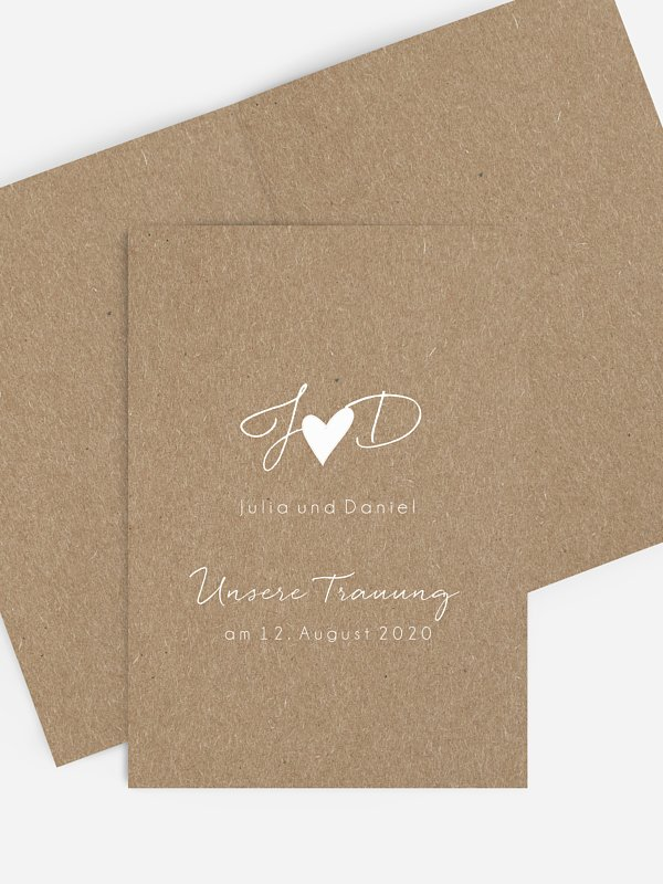 Kirchenheft Hochzeit Liebesglück Kraftpapier