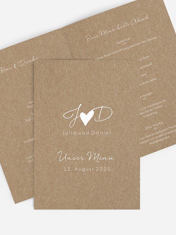 Menükarte Hochzeit Liebesglück Kraftpapier
