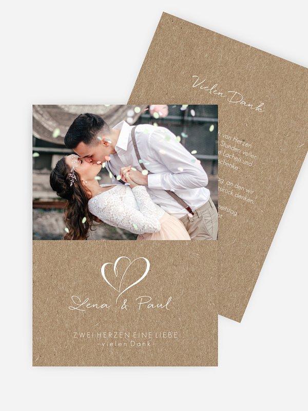 Dankeskarte Hochzeit Herz an Herz Kraftpapier