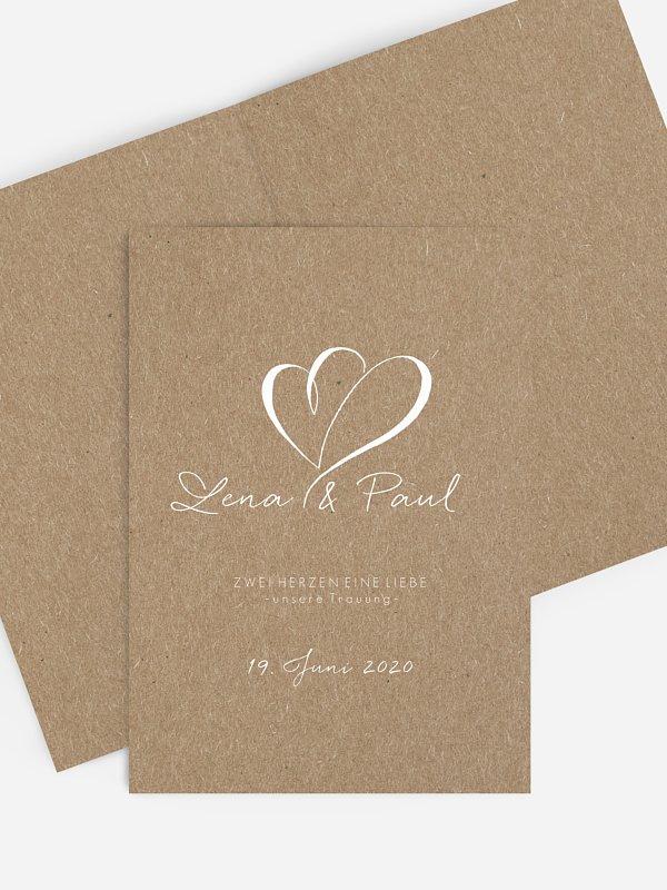 Kirchenheft Hochzeit Herz an Herz Kraftpapier