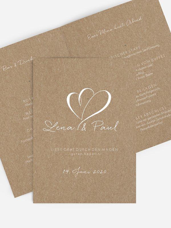 Menükarte Hochzeit Herz an Herz Kraftpapier