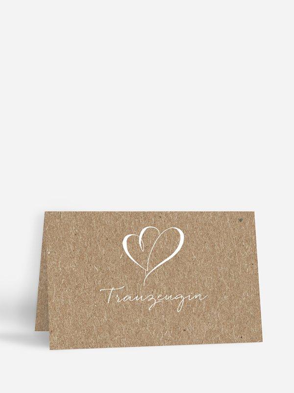 Tischkarte Hochzeit Herz an Herz Kraftpapier