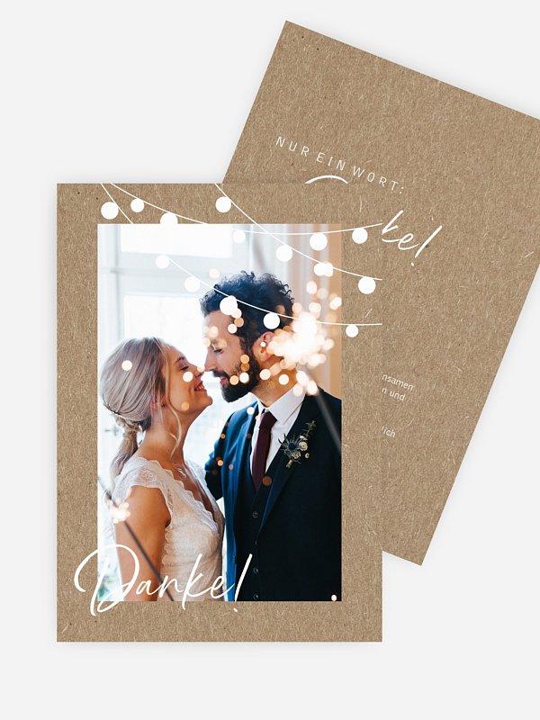 Dankeskarte Hochzeit Lichterzauber Kraftpapier