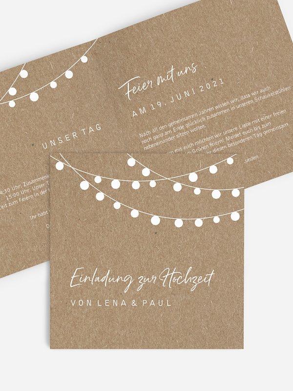 Hochzeitseinladung Lichterzauber Kraftpapier