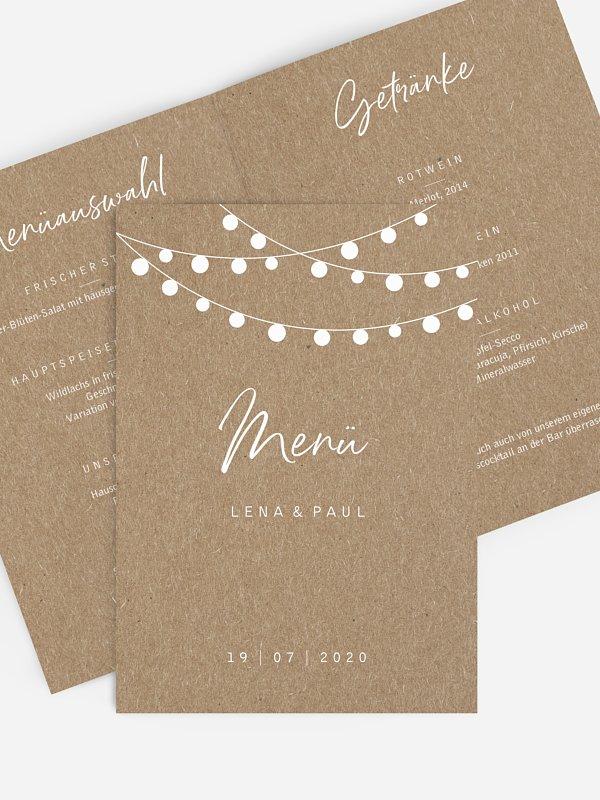 Menükarte Hochzeit Lichterzauber Kraftpapier
