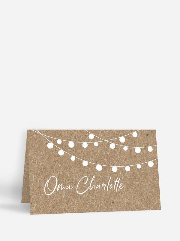 Tischkarte Hochzeit Lichterzauber Kraftpapier