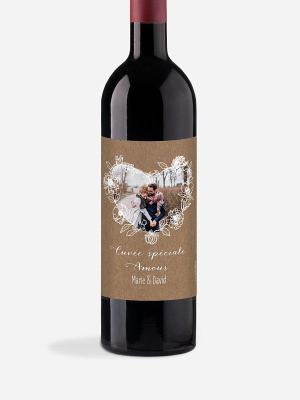 Étiquette bouteille Amour champetre