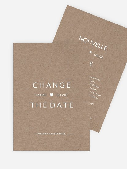 Carte mariage reporté Change the Date