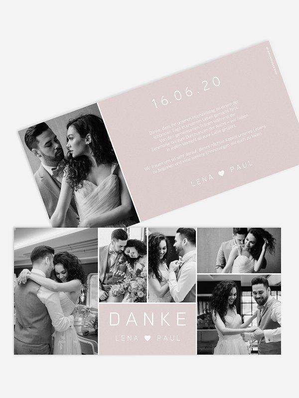 Dankeskarte Hochzeit French Rose