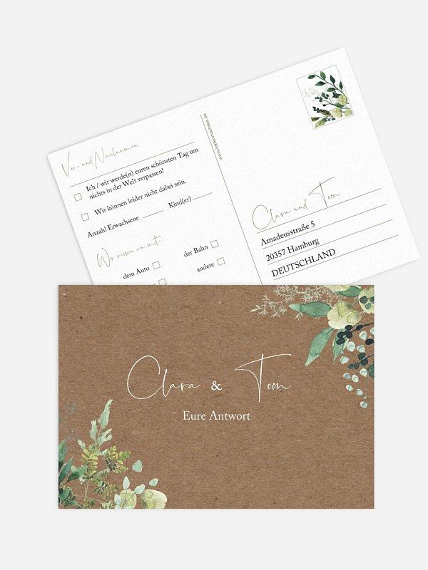 Antwortkarte Hochzeit Rustic Green Magic