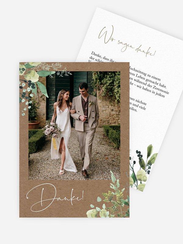 Dankeskarte Hochzeit Rustic Green Magic