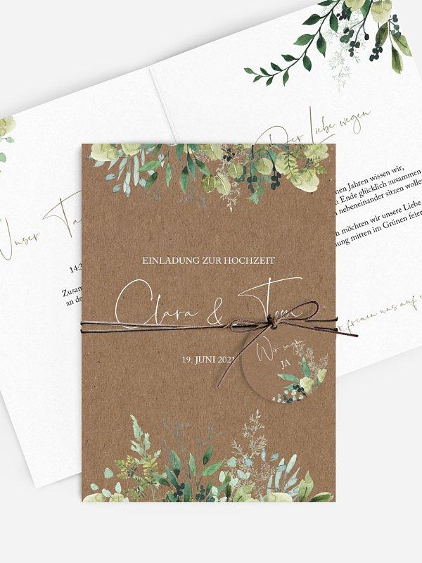 Hochzeitseinladung Rustic Green Magic