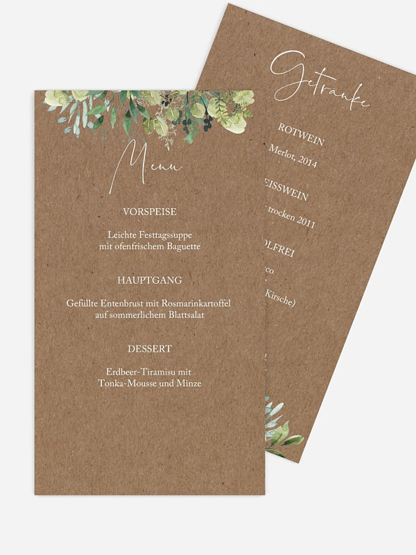 Menükarte Hochzeit Rustic Green Magic