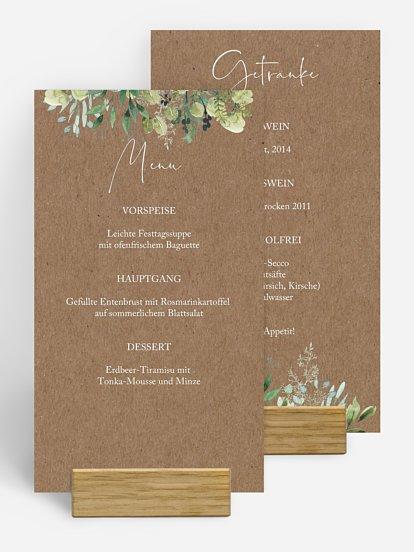 "Menükarte Hochzeit ""Rustic Green Magic"""