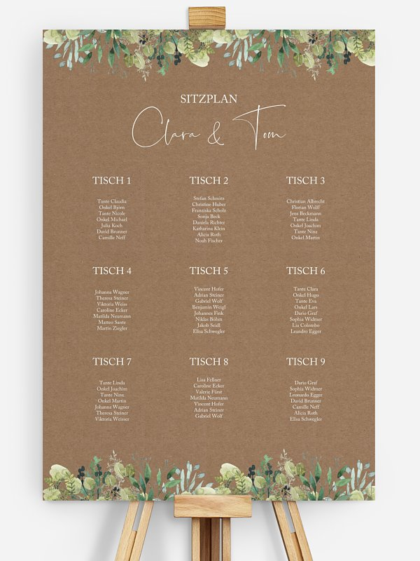 Sitzplan Plakat Rustic Green Magic