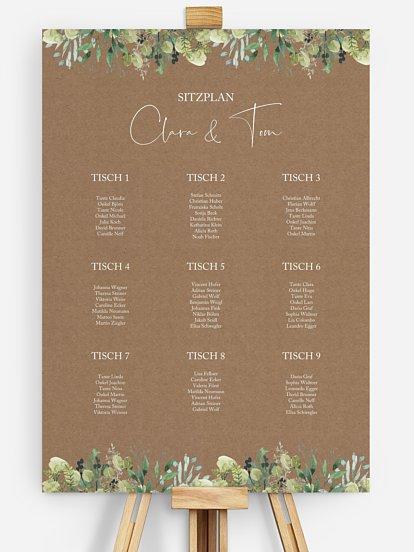 "Sitzplan Plakat ""Rustic Green Magic"""